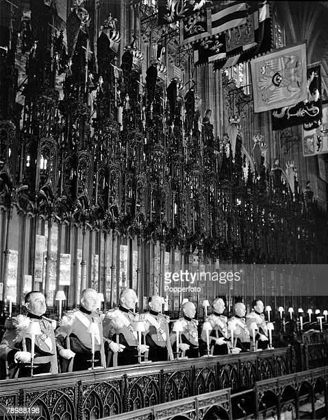 1953 England Preparations for the Coronation of Queen Elizabeth II The Military Knights take their places in the stalls in the choir of St George's...