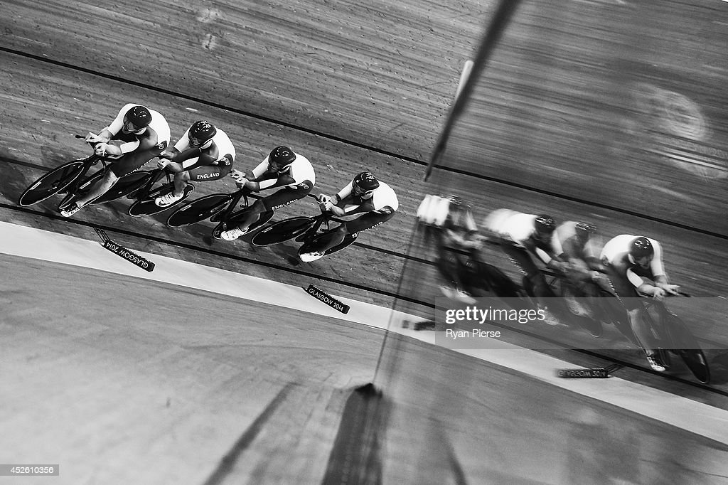 England race during the Men's 4000m Team Pursuit Qualifying at Sir Chris Hoy Velodrome during day one of the Glasgow 2014 Commonwealth Games on July 24, 2014 in Glasgow, United Kingdom.