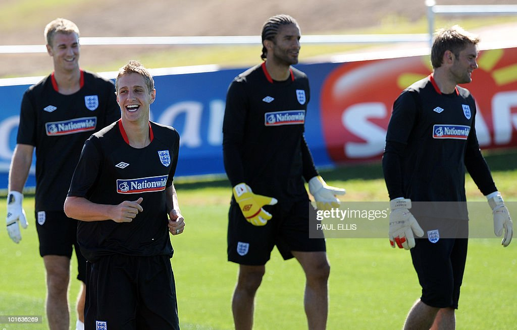 England replacement defender Michael Dawson (2nd L) laughs with the goalkeepers after arriving for a training session at the Royal Bafokeng Sports Campus near Rustenburg on June 5, 2010. Dawson was flown from England to replace captain Rio Ferdinand after he injured his knee during the team's first training session in the country on June 4.