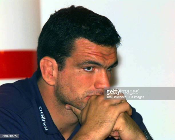 England Rugby captain Martin Johnson attends a news conference at Twickenham Rugby Stadium to announce the team for their match with Premiership All...
