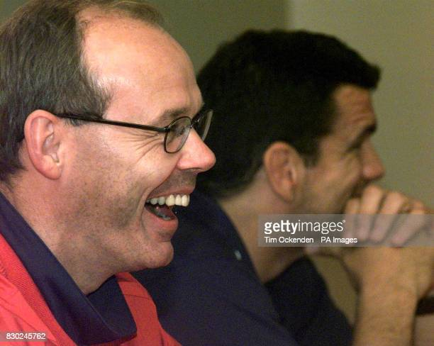 England Rugby coach Clive Woodward and captain Martin Johnson attend a news conference at Twickenham Rugby Stadium to announce the team for their...