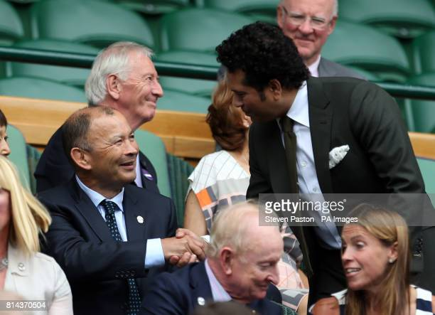 England rugby coach Eddie Jones with Sachin Tendulkar on day eleven of the Wimbledon Championships at The All England Lawn Tennis and Croquet Club...