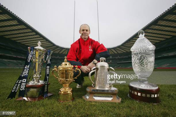 England Rugby Coach Sir Clive Woodward with England's Trophy Haul at Twickenham on March 12 2004 in London