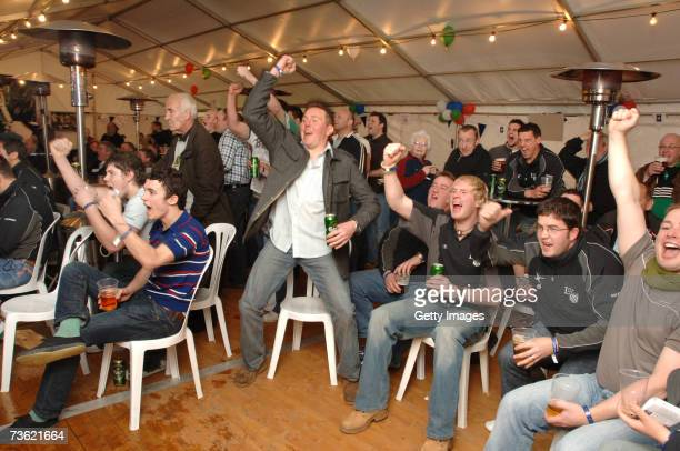 England Rugby fans celebrate going level with Wales during the RBS Six Nations party at Lymm RFC on March 2007 in Lymm England Lymm RFC was one of...