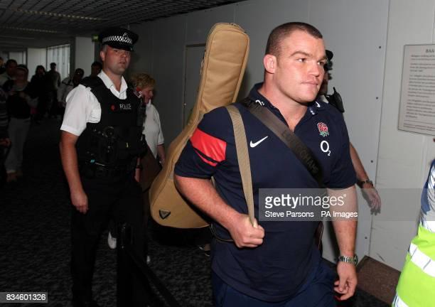 England Rugby Matt Stevens arrives back at Heathrow Airport Middlesex