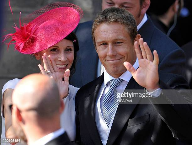 England rugby player Jonny Wilkinson leaves the church after the Royal wedding of Zara Phillips and Mike Tindall at Canongate Kirk on July 30 2011 in...