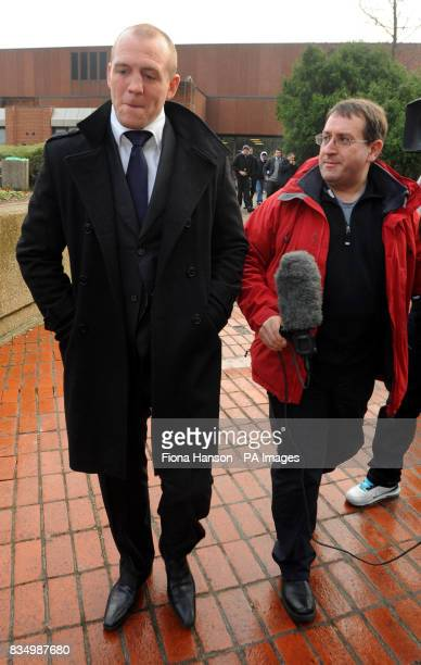 England rugby player Mike Tindall leaves Reading Magistrates Court after he was banned from the road for three years today for drinkdriving