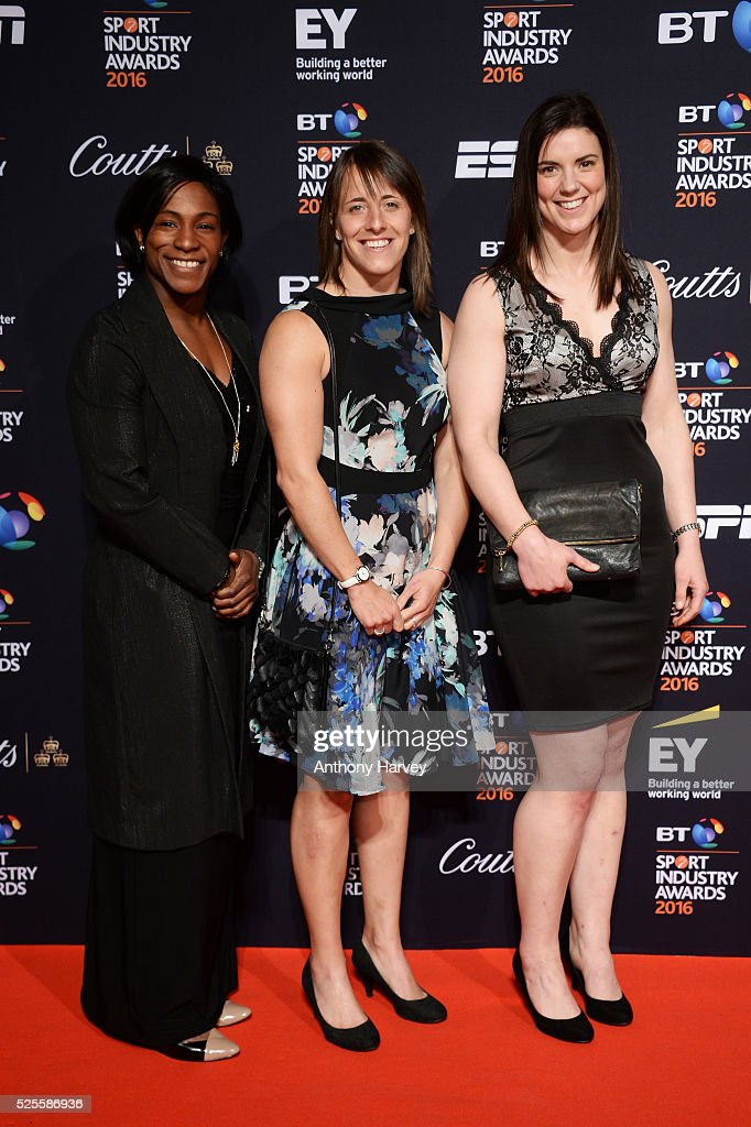England rugby players Maggie Alphonsi, <a gi-track='captionPersonalityLinkClicked' href=/galleries/search?phrase=Katy+McLean&family=editorial&specificpeople=6534525 ng-click='$event.stopPropagation()'>Katy McLean</a> and Sarah Hunter pose on the red carpet at the BT Sport Industry Awards 2016 at Battersea Evolution on April 28, 2016 in London, England. The BT Sport Industry Awards is the most prestigious commercial sports awards ceremony in Europe, where over 1750 of the industry's key decision-makers mix with high profile sporting celebrities for the most important networking occasion in the sport business calendar.