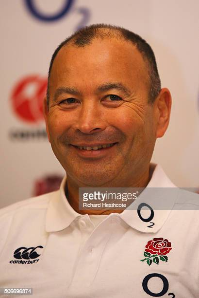 England Rugby Union head coach Eddie Jones smiles during a press conference to announce Dylan Hartley as new England captain at Pennyhill Park on...