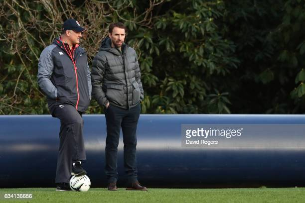 England Rugby Union Team Manager Richard Hill talks to Gareth Southgate England Football Team Manager during the England training session at...