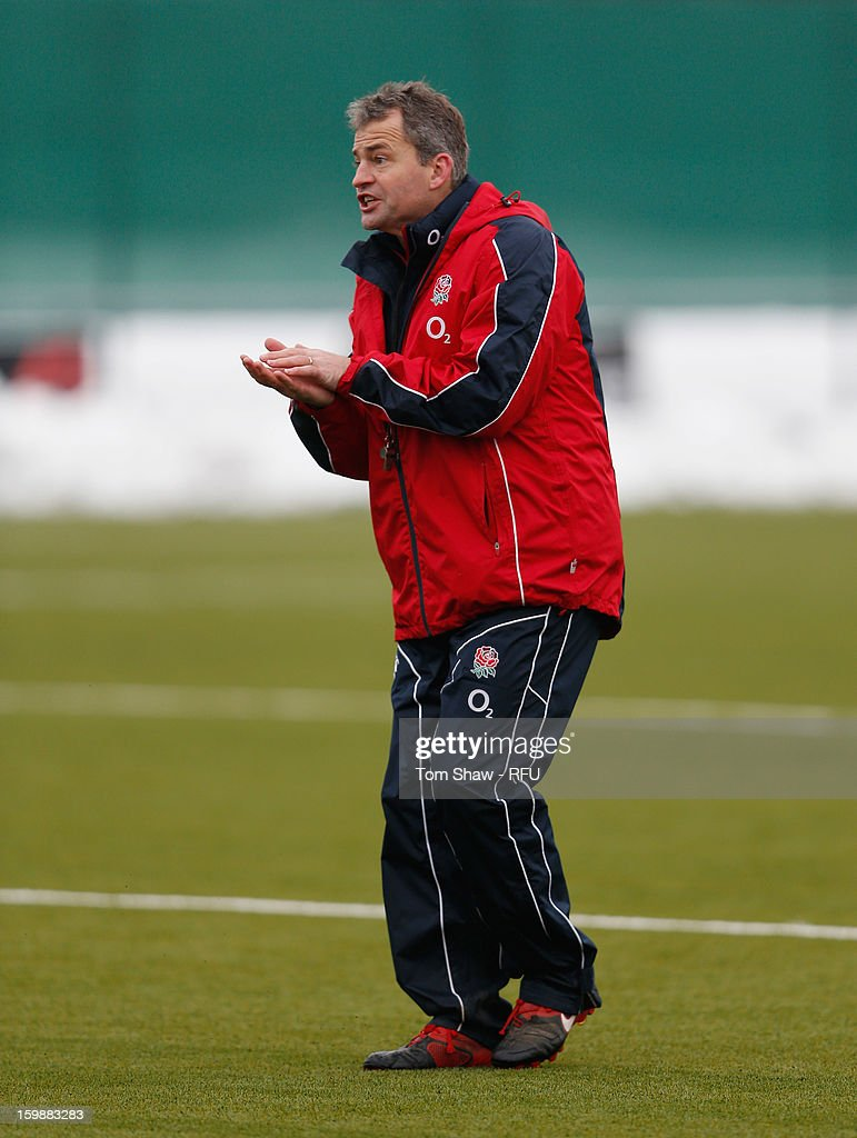 England Saxons head coach <a gi-track='captionPersonalityLinkClicked' href=/galleries/search?phrase=Jon+Callard&family=editorial&specificpeople=572947 ng-click='$event.stopPropagation()'>Jon Callard</a> during the England Saxons training session at Maidenhead Rugby Ground on January 22, 2013 in Guildford, England.