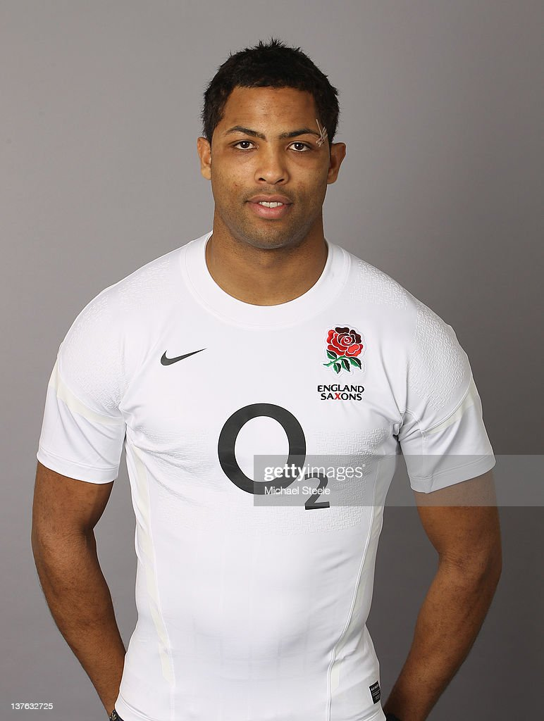England Saxons player <a gi-track='captionPersonalityLinkClicked' href=/galleries/search?phrase=Delon+Armitage&family=editorial&specificpeople=556925 ng-click='$event.stopPropagation()'>Delon Armitage</a> during the England Saxons Rugby Union Headshots shoot at Westbury Park on January 23, 2012 in Exeter, England.