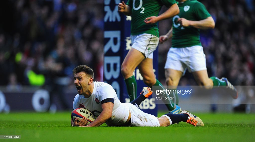 England scrum half Danny Care scores the first England try during the RBS Six Nations match between England and Ireland at Twickenham Stadium on...