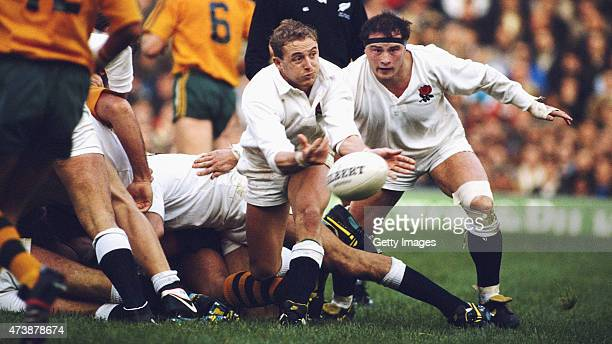 England scrum half Dewi Morris releases the ball watched by hooker Brian Moore during the England v Australia test match at Twickenham on November 5...