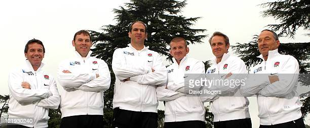 England senior coaching team Mike Ford defence John Wells forwards coach Martin Johnson team manager Graham Rowntree scrum coch Brian Smith attack...