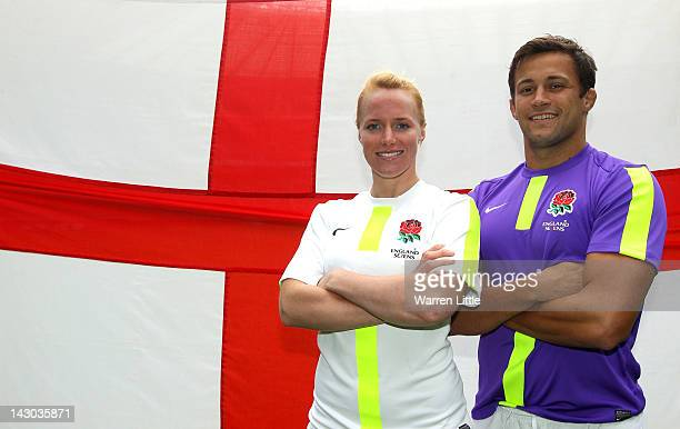 England Sevens players Michaela Staniford and Chris Cracknell are pictured at the launch of the new England Sevens kit at Twickenham Stadium on April...