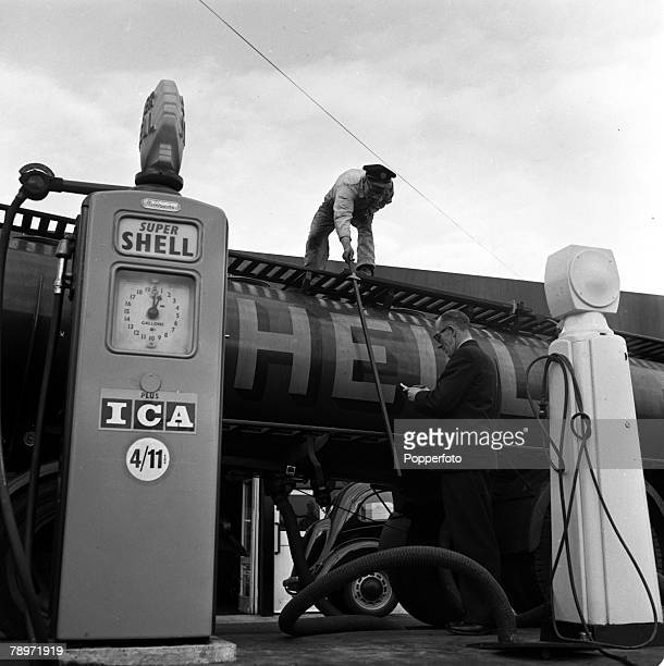 England Shell fuel is pictured being delivered to a typical petrol station of the era