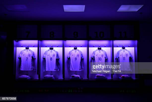 England shirts hang in the dressing room prior to the FIFA 2018 World Cup Qualifier between England and Lithuania at Wembley Stadium on March 26 2017...