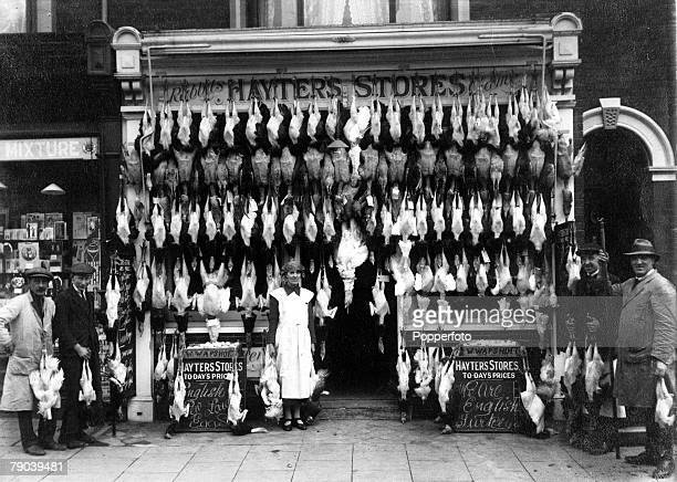 England Social History A typical butchers shop ' Hayters Stores' with a fine supply of poultry circa 1920