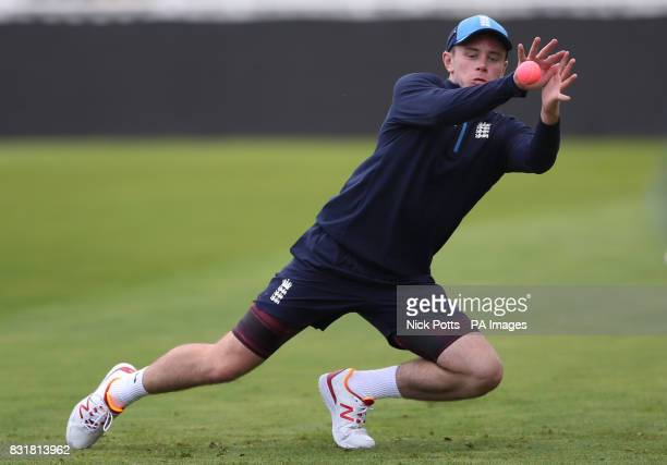 England spin bowler Mason Crane catches the pink ball during the nets session at Edgbaston Birmingham