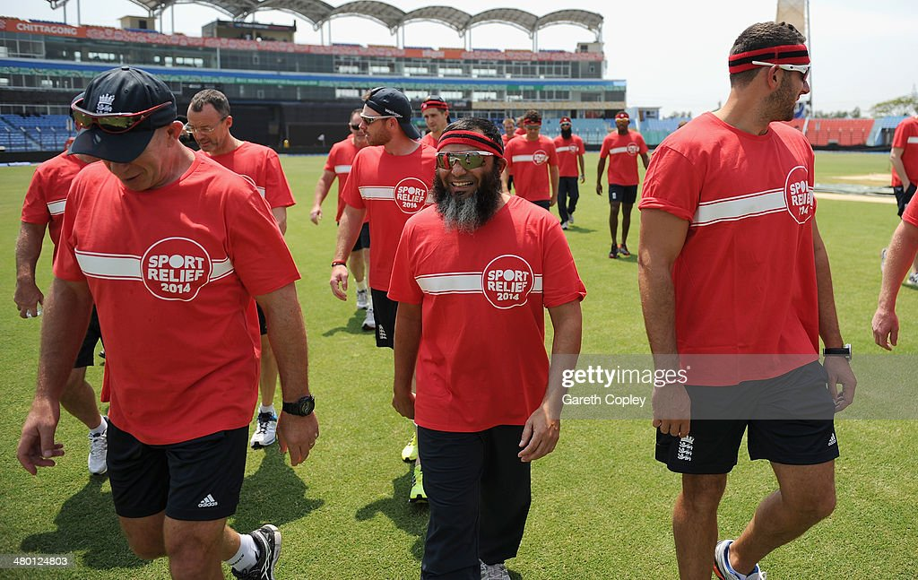 England spin bowling coach Mushtaq Ahmed prepares to take part in the Sport Relief mile at Zahur Ahmed Chowdhury Stadium on March 23 2014 in...