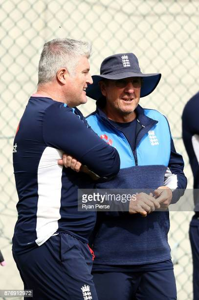 England Spin Consultant and former Australian Test Spinner speaks with England Head Coach Trevor Bayliss during an England nets session at The Gabba...