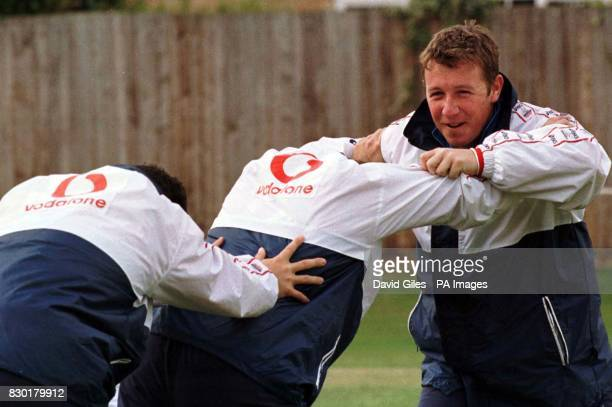England spinner Robert Croft practises with his fellow teammates at St Lawrence Ground Canterbury in Kent ahead of their Cricket World Cup match...