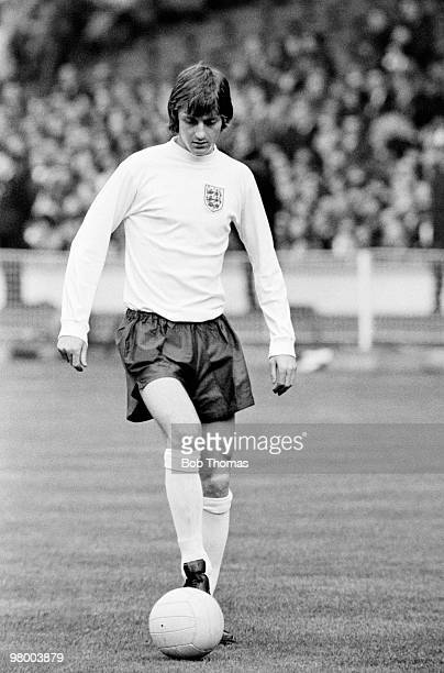 England striker Allan Clarke during the Home International Championship match between England and Wales at Wembley Stadium in London 15th May 1973...