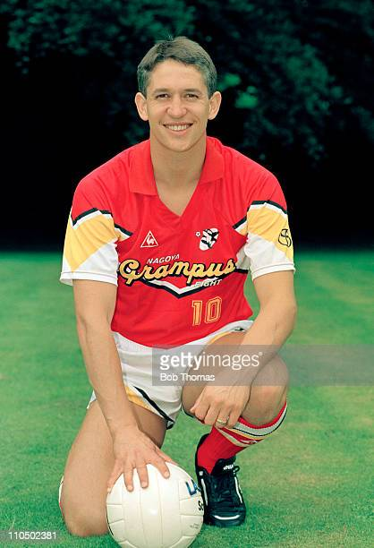 England striker Gary Lineker after joining Japanese JLeague team Grampus Eight photographed in Northampton circa July 1992