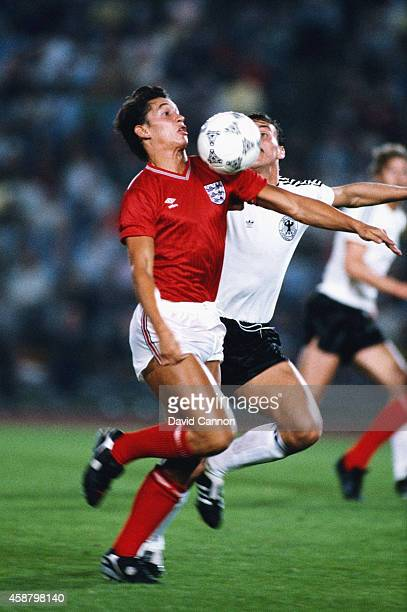 England striker Gary Lineker in action during an International match between West Germany and England on September 9 1987 in in Dusseldorf Germany