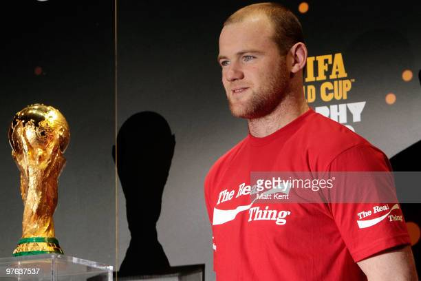 England striker Wayne Rooney takes part in the FIFA World Cup Trophy Tour by CocaCola at Earls Court on March 11 2010 in London England