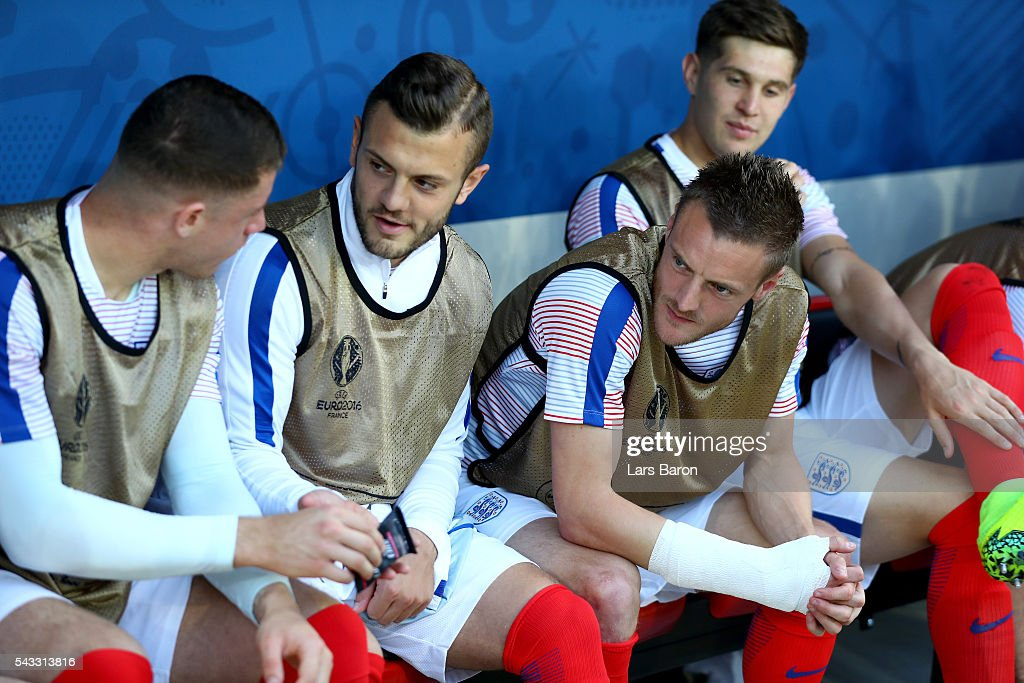 England substitute players are seen on the bench prior to the UEFA EURO 2016 round of 16 match between England and Iceland at Allianz Riviera Stadium on June 27, 2016 in Nice, France.
