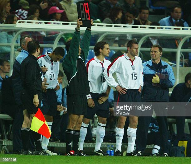 England substitutes queue up to come on to the field during the International Friendly match between Portugal and England at the FaroLoule Stadium on...