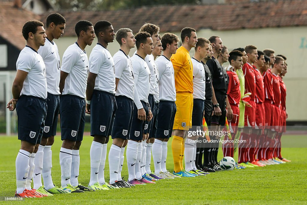 England team and Switzerland team line up ahead of the UEFA U19 Championships Qualifier between England and Switzerland, on October 15, 2013 in Ptuj, Slovenia.