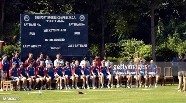 England team are photographed for the ground staff at the Siri Fort Sports Complex Delhi India