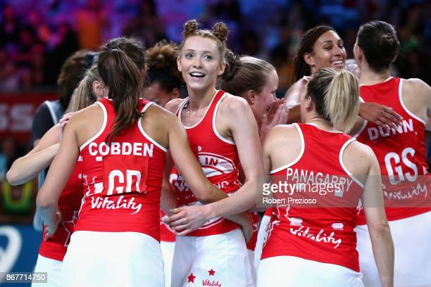 England team celebrates a win during the Fast5 World Series Netball match between Jamaica and England at Hisense Arena on October 29 2017 in...