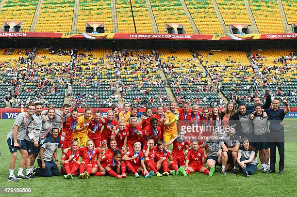 England team celebrates after the FIFA Women's World Cup Canada 2015 Third Place Playoff match between Germany and England at Commonwealth Stadium on...
