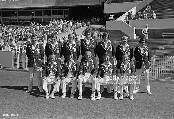 England Team Group back row Amiss Woolmer Lever Willis Old Barlow Randall front row Fletcher Knott Greig Brearley Underwood Centenary Test Australia...