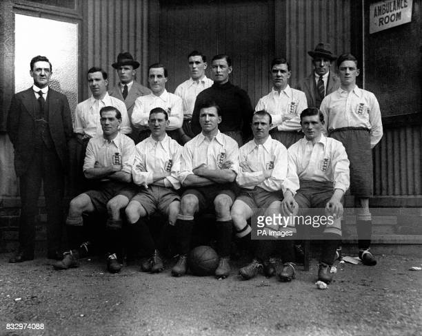 England Team Group Mellor Bert Smith Percival 'Percy' Barton Henry 'Harry' Chambers Thomas 'Tommy' Smart Harold Gough John Silcock Ernest 'Ernie'...