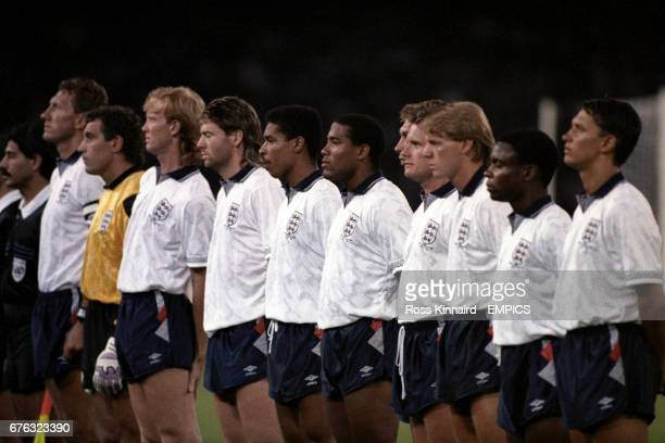 England Team line up before kick off Terry Butcher Peter Shilton Mark Wright Chris Waddle Des Walker John Barnes David Platt Paul Gascoigne Stuart...