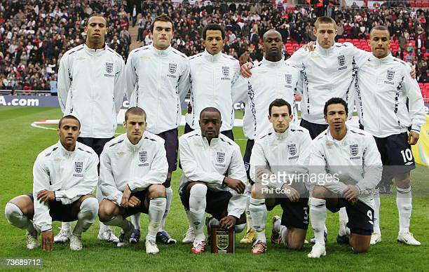 England team line up prior to the U21 International Friendly match between England and Italy at Wembley Stadium on March 24 2007 in London England
