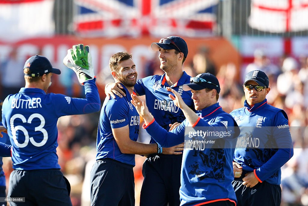England team mates celebrate after the 2015 ICC Cricket World Cup match between England and Scotland at Hagley Oval on February 23 2015 in...