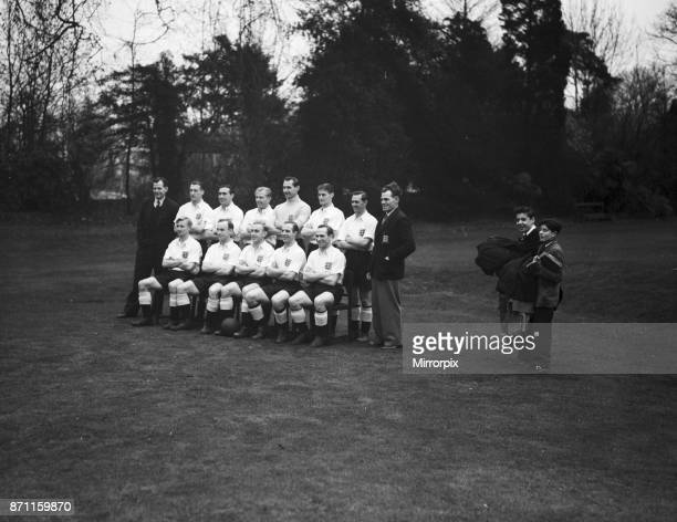 England team meet up ahead their upcoming international match against Austria Here the squad pose for a group photograph with manager Walter...
