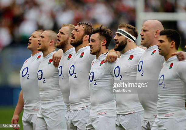 England team sings his national anthem before the RBS Six Nations match between Italy and England at Stadio Olimpico on February 14 2016 in Rome Italy