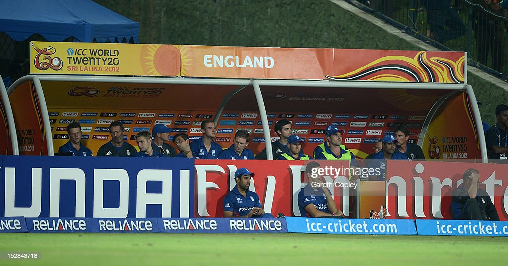 England team watch from the dug out during the ICC World Twenty20 2012 Super Eights Group 1 match between England and the West Indies at Pallekele Cricket Stadium on September 27, 2012 in Kandy, Sri Lanka.