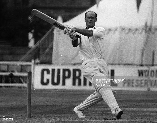 England Test cricketer and Somerset captain Brian Close hits a four duting a match at the Leyton Essex ground England Original Publication People...