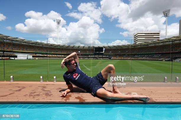 England Test player Jake Ball visits the Pooldeck at The Gabba on November 20 2017 in Brisbane Australia