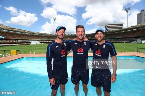 England Test players James Vince Jake Ball and Dawid Malan visit the Pooldeck at The Gabba on November 20 2017 in Brisbane Australia