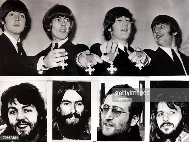 England The members of British pop group The Beatles are pictured after receiving their MBE's from The Queen and below how they looked in 1971 LR...