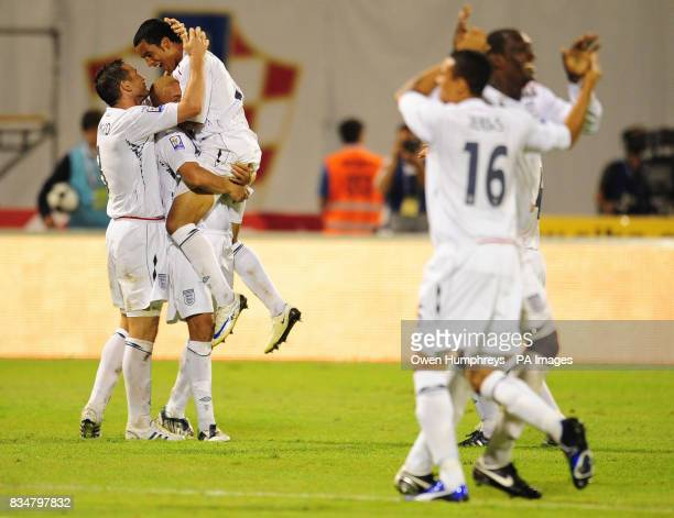 England Theo Walcott celebrates his second goal with team mates during the World Cup Qualifying Group Six match at the Stadion Maksimirl Zagreb...